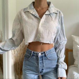 Bleached Perry Ellis Blue Long Sleeve Crop Shirt